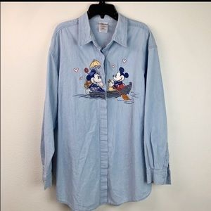Disney embroidered Mickey & Minnie denim shirt EUC